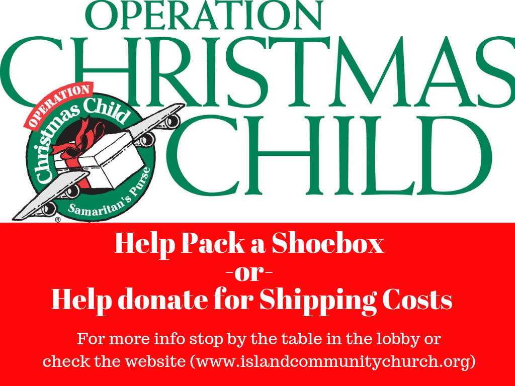 Operation Christmas Child Shoebox Drop Off